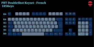 105-Key PBT Double Shot Tai-Hao keycaps set French