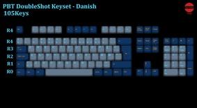 105-Key PBT Double Shot Tai-Hao keycaps set Danish