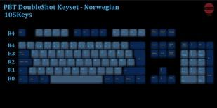 105-Key PBT Double Shot Tai-Hao keycaps set Norwegian
