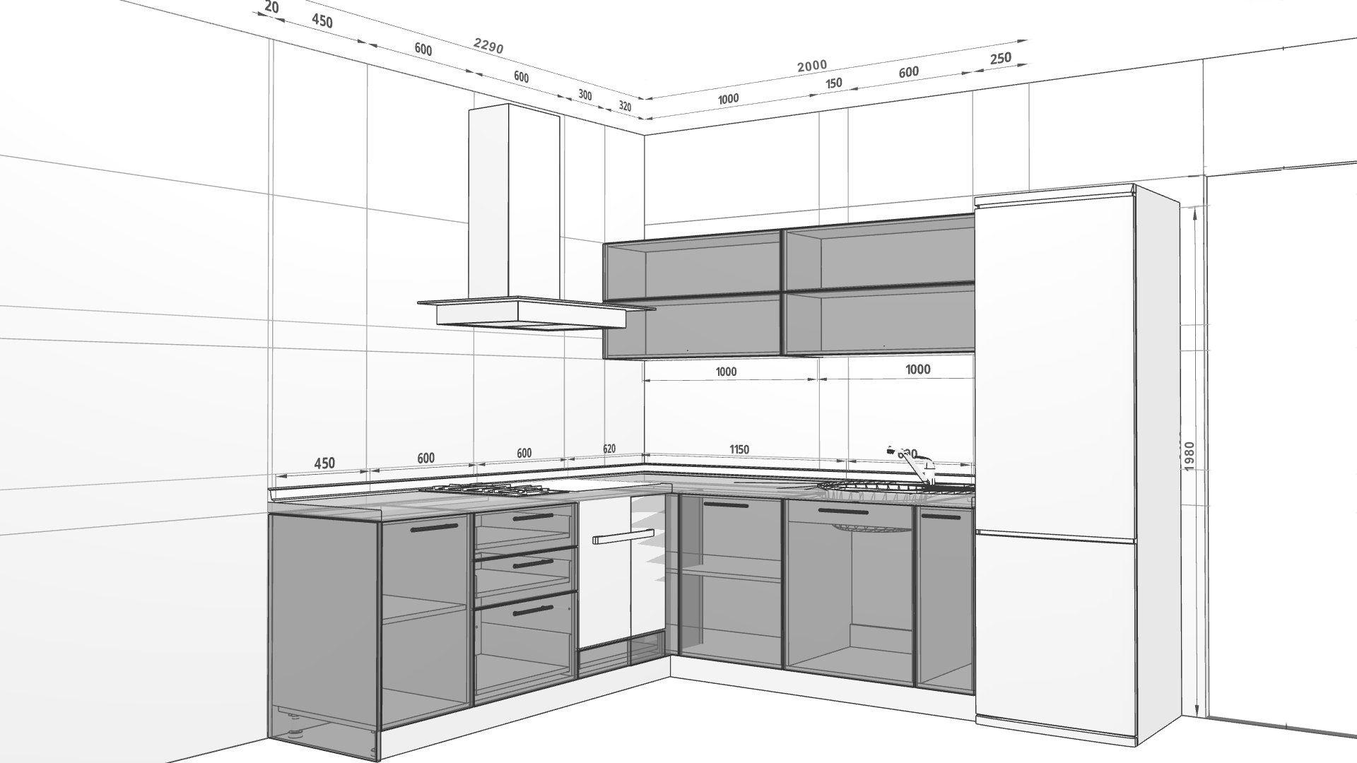 эскизы кухонь с размерами фото ведь