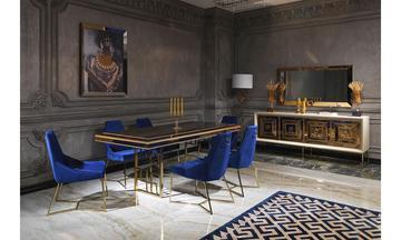Versace Krem-Altın Modern Yemek Odası Takımı
