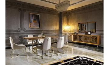 Versace Ceviz-Altın Modern Yemek Odası Takımı