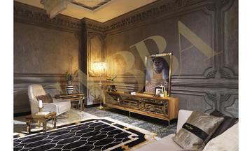 Versace Ceviz-Altın Modern Tv Ünitesi