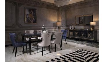 Bugatti Parlak Siyah Modern Yemek Odası Takımı