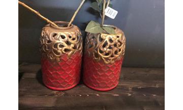 Kırmızı Gold Vazo aksesuar