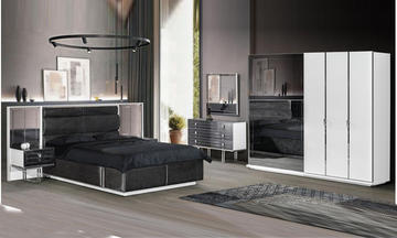 Noir Beyaz Modern Yatak Odası Takımı