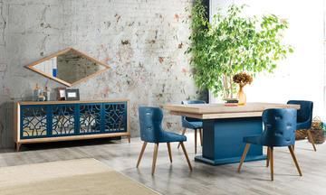 Oslo Mavi Modern Yemek Odası Takımı