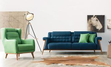 Kupon Mavi/Yeşil Modern Koltuk Takımı