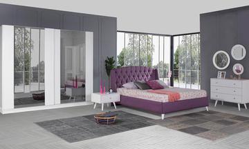 Angora Beyaz Sürgülü Modern Yatak Odası Takımı