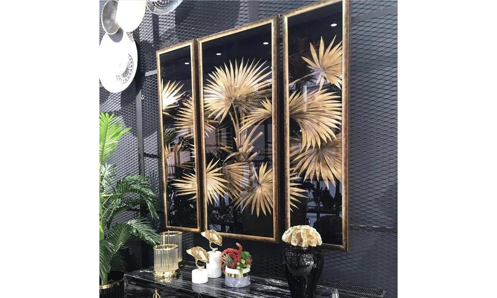 Tablo 3 lü set gold çiçekli