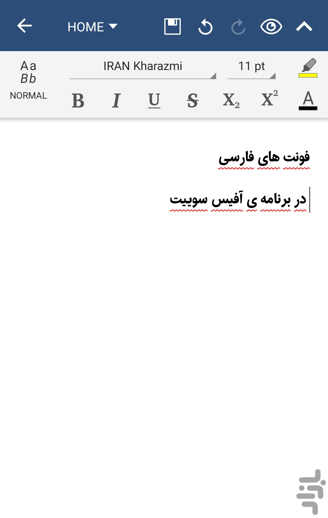 OfficeSuite Farsi Font Pack
