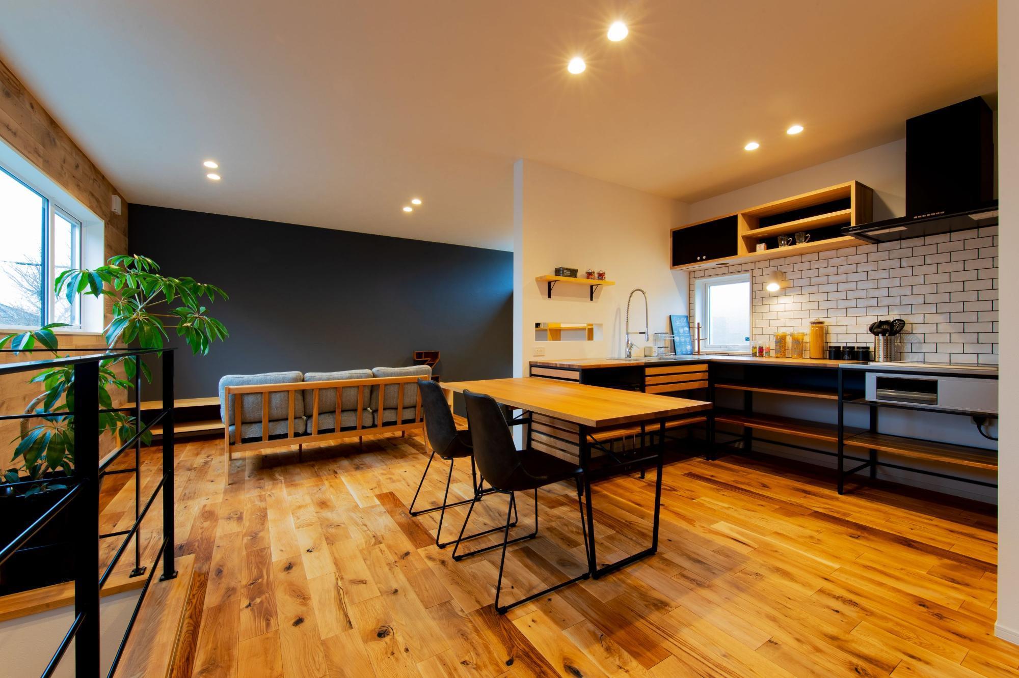 株式会社ゼロスタイル「ユカカベオークなカジュアルモダンなお家」のモダン・シンプル・ナチュラル・自然素材なリビング・ダイニングの実例写真