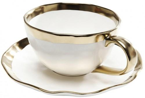 Hrnček z glazovaného porcelánu s tanierikom Kare Design Bell
