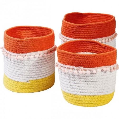 KARE DESIGN Košík Fringes - oranžová a biela - set 3 ks