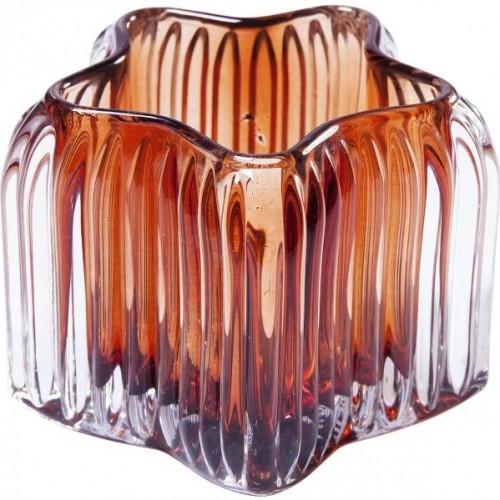 KARE DESIGN Sada 4 ks − Svietnik na čajovú sviečku Star Brown 8 cm
