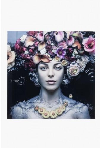 Sklenený obraz Kare Design Flower Art Lady, 80 x 80 cm