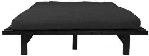 Dvojlôžková posteľ z borovicového dreva s matracom Karup Design Blues Comfort Mat Black/Black, 160 × 200 cm
