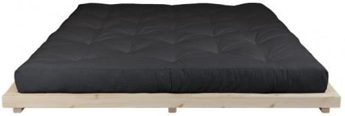 Dvojlôžková posteľ z borovicového dreva s matracom Karup Design Dock Comfort Mat Natural/Black, 160 × 200 cm