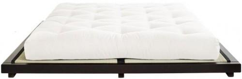 Dvojlôžková posteľ z borovicového dreva s matracom Karup Design Dock Double Latex Black/Natural, 180 × 200 cm