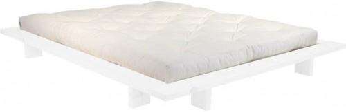 Dvojlôžková posteľ z borovicového dreva s matracom Karup Design Japan Double Latex White/Natural, 140 × 200 cm
