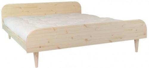 Dvojlôžková posteľ z borovicového dreva s matracom Karup Design Twist Comfort Mat Natural/Natural, 160 × 200 cm