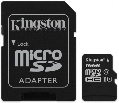 KINGSTON 16GB MICROSDHC CANVAS SELECT CLASS 10 UHS-I S ADAPTEROM, SDCS/16GB