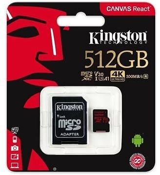 Kingston Canvas React MicroSDXC 512GB A1 UHS-I V30 U3 + SD adaptér