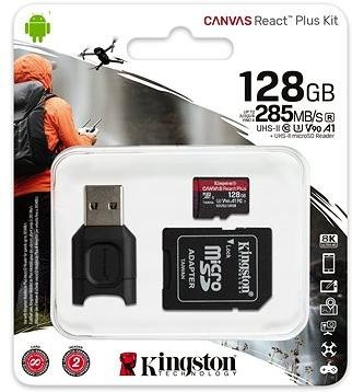 Kingston Canvas React Plus microSDXC 128GB + SD adaptér a čtečka karet