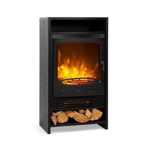 Klarstein Bergamo, elektrický krb, 900/1800 W, termostat, drevený vzhľad, čierny