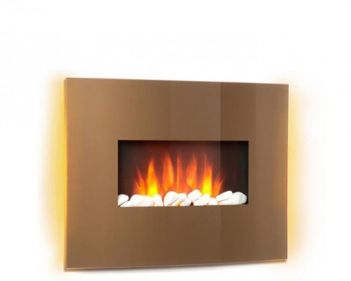 Klarstein Curved Copper L&F, elektrický krb, 1000/2000 W, zaoblený sklenený panel, diaľkový ovládač, meď