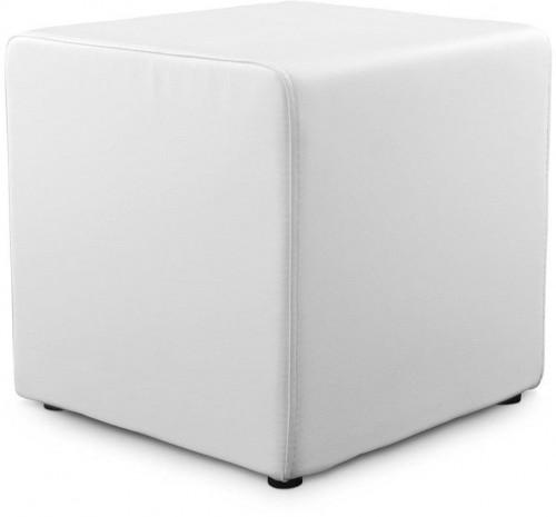 Biely puf z pravej kože Kokoon Rubik