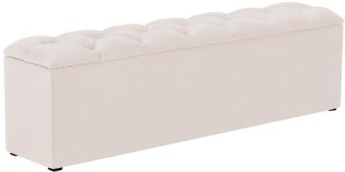 Béžový otoman k posteli s úložným priestorom Kooko Home Manna, 47×160 cm