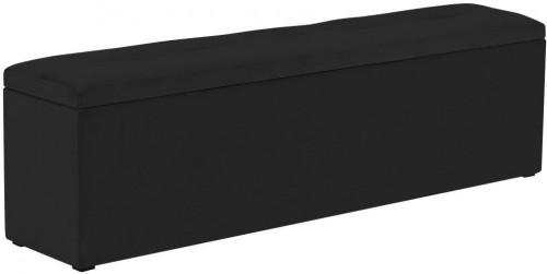 Čierny otoman k posteli s úložným priestorom Kooko Home, 47×140 cm