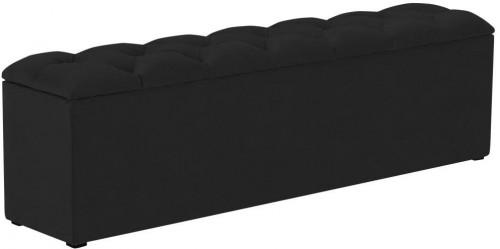 Čierny otoman k posteli s úložným priestorom Kooko Home Manna, 47 × 180 cm