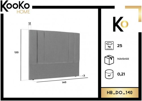 KOOKO HOME Čelo postele Do – 140 × 10 × 120 cm