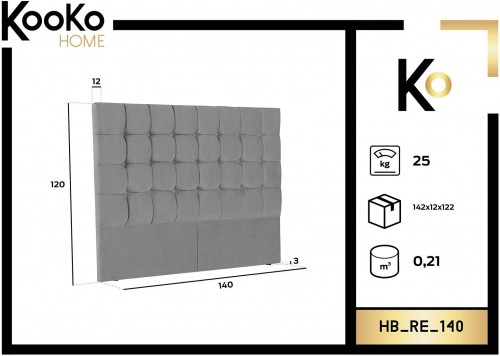KOOKO HOME Čelo postele Re – 140 × 10 × 120 cm