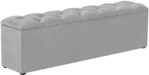 Sivý otoman k posteli s úložným priestorom Kooko Home Manna, 47×140 cm