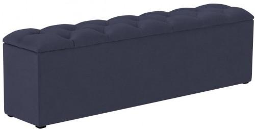 Tmavomodrý otoman k posteli s úložným priestorom Kooko Home Manna, 47×180 cm