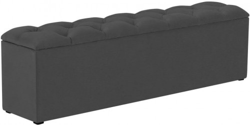 Tmavosivý otoman k posteli s úložným priestorom Kooko Home Manna, 47×140 cm