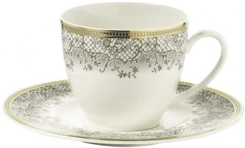 Sada 6 porcelánových šálok na kávu s tanierikom Kutahya Prosper, 50 ml