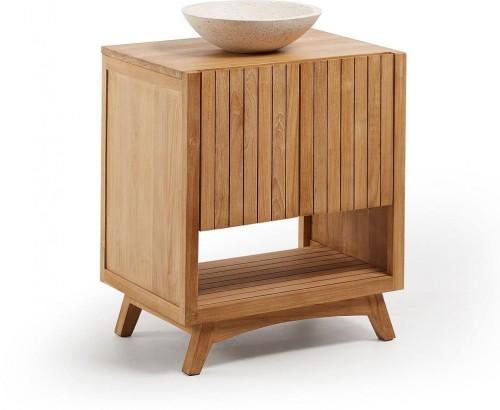 Kúpeľňová skrinka z teakového dreva s umývadlom La Forma, šírka 70 cm