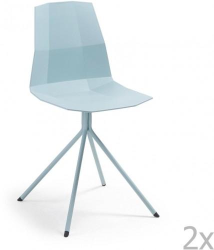 Sada 2 modrých jedálenských stoličiek La Forma Pixel