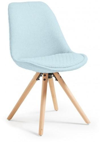 Svetlomodrá jedálenská stolička s drevenou podnožou La Forma Lars
