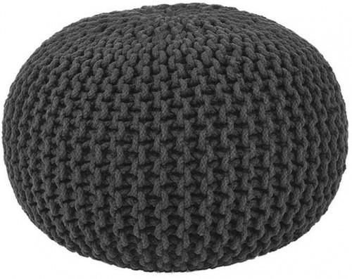 Čierny pletený puf LABEL51 Knitted, ⌀50 cm