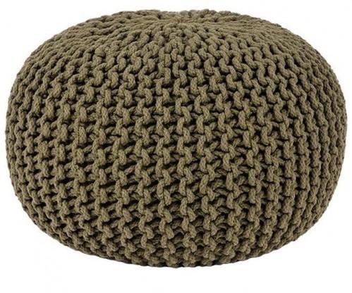 Kaki zelený pletený puf LABEL51 Knitted, ⌀50 cm