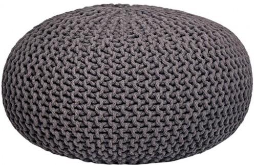 Tmavosivý pletený puf LABEL51 Knitted XL, Ø 70 cm