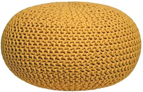 Žltý pletený puf LABEL51 Knitted XL