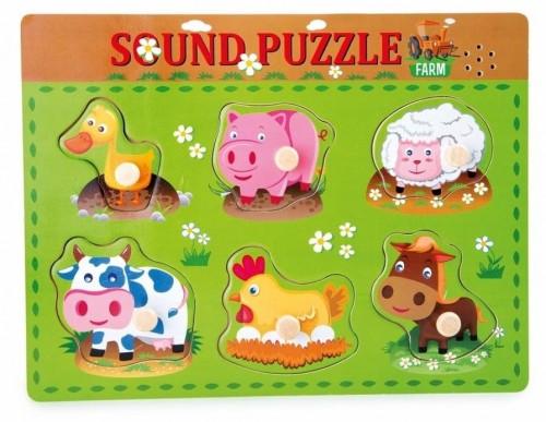 Drevené puzzle so zvukmi zvierat Legler Animal