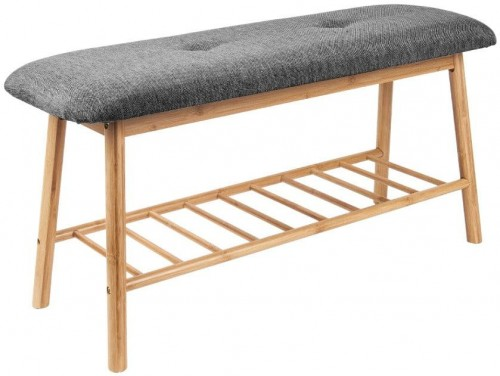Bambusová lavica s tmavosivým vankúšom na sedenie Leitmotiv Bench
