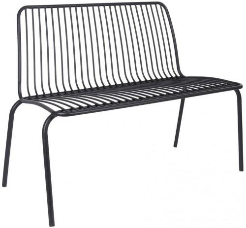 LEITMOTIV Exteriérová lavička Lineate Metal – čierna